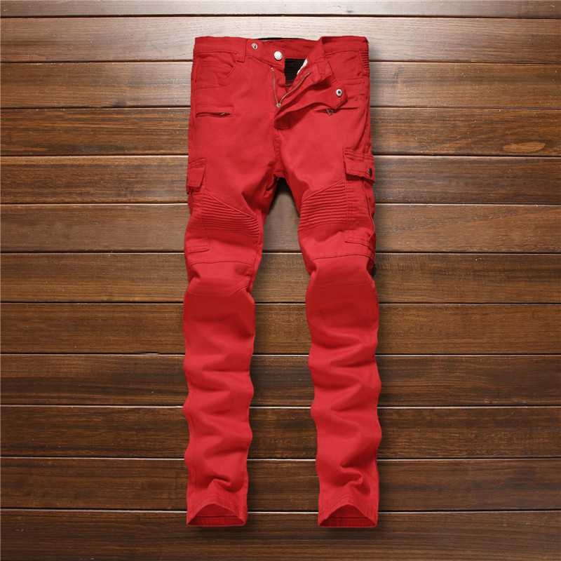 #3242 2016 Red jeans men Fashion Motorcycle pants Skinny Distressed jeans for men Famous brand Mens biker jeans Denim pants
