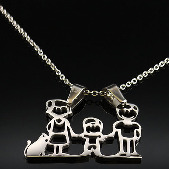 Unisex Family Necklace Jewelry Necklaces Women Jewelry Metal Color: 1 Boy Cat