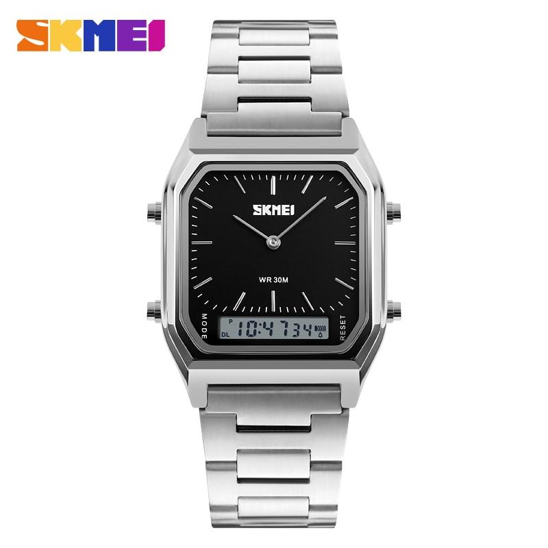SKMEI Quartz Digital Wristwatches Men Fashion Casual Watch Stainless Steel  Strap 30M Water Resistant Sports Watches 4e0a58b103b19