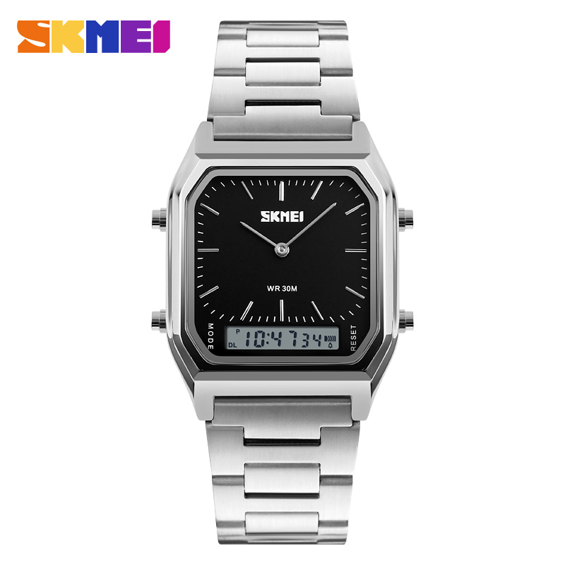 цена на SKMEI Quartz Digital Wristwatches Men Fashion Casual Watch Stainless Steel Strap 30M Water Resistant Sports Watches