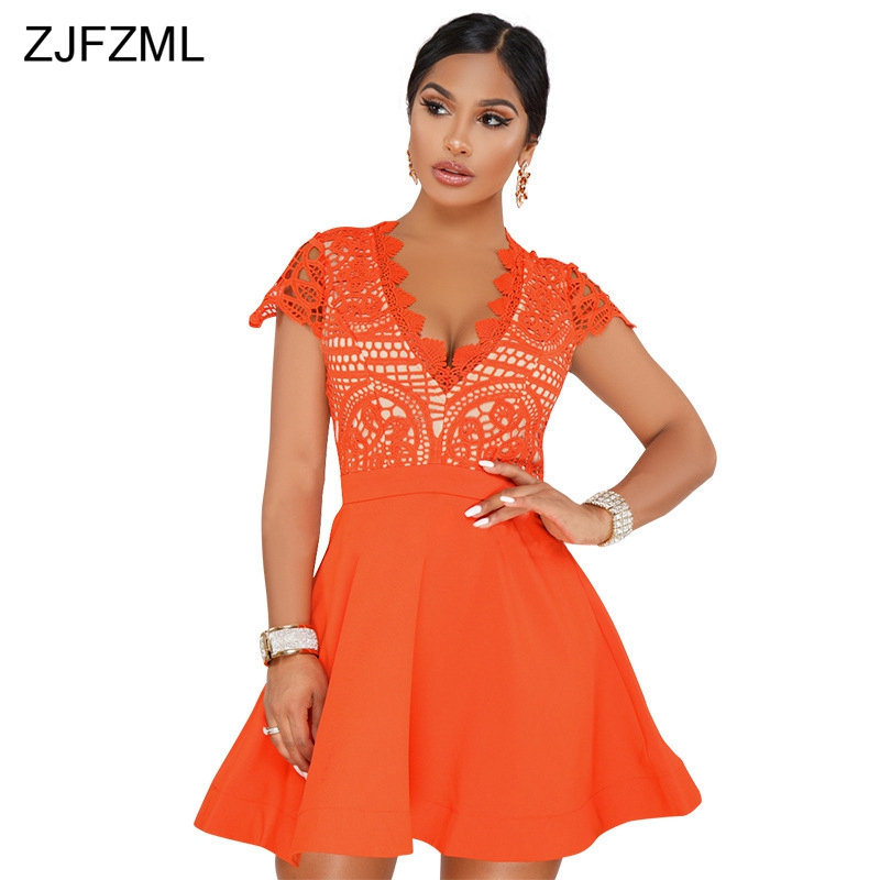ZJFZML Orange Hollow Out Sexy Lace Dresses Women Deep V Neck Short Sleeve Chiffon Dress Summer Back Zipper Fit And Flare Vestido