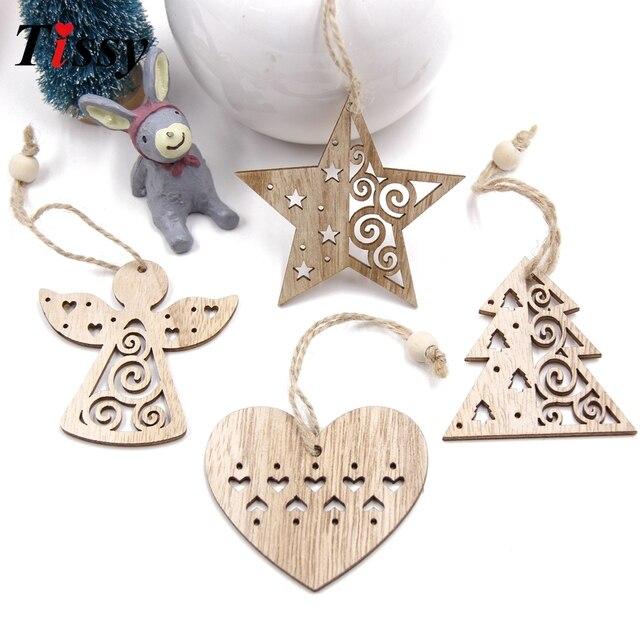 6 pz Bella Annata Pendenti con gemme e perle Ornamenti di Natale In Legno FAI DA