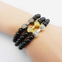 Men Gift New Arrival Alloy Metal Barbell & Black Matte Stone Beads Fashion Dumbbell Bracelets