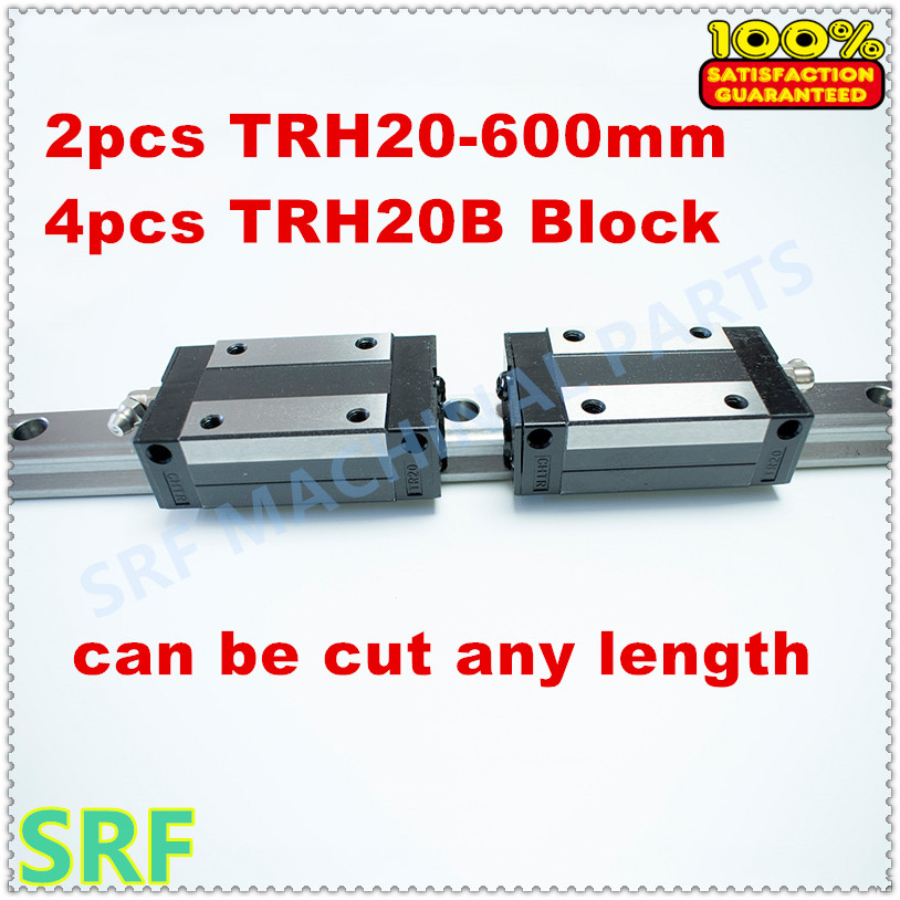 High Precision 2pcs Linear rail 20mm TRH20 L=600mm Linear Guide Rail+4pcs TRH20B Pillow block for cnc high precision low manufacturer price 1pc trh20 length 1800mm linear guide rail linear guideway for cnc machiner