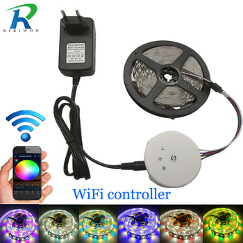 UFO Wifi Controller 5M 5050 RGBW/RGBWW LED Strip light lamp Decor Flexible Tape Diode Ribbon DC 12V 4A Adapter set New Year