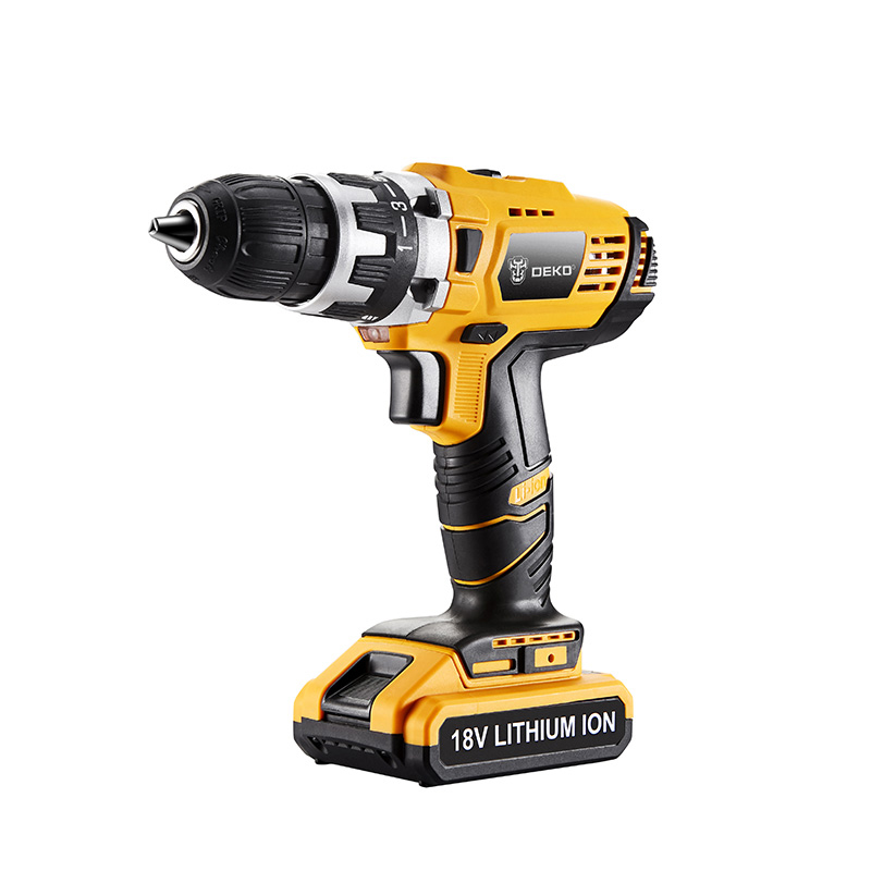 DEKO GCD18DU2 18V DC Lithium-Ion Battery Cordless Drill/Driver Power Tools Screwdriver Electric Drill with Battery Included