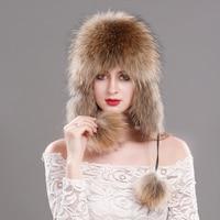 Longtengfenghao Russian fox fur hat winter real fox fur hat fur pilot hat female 100% pure natural leather fur cap