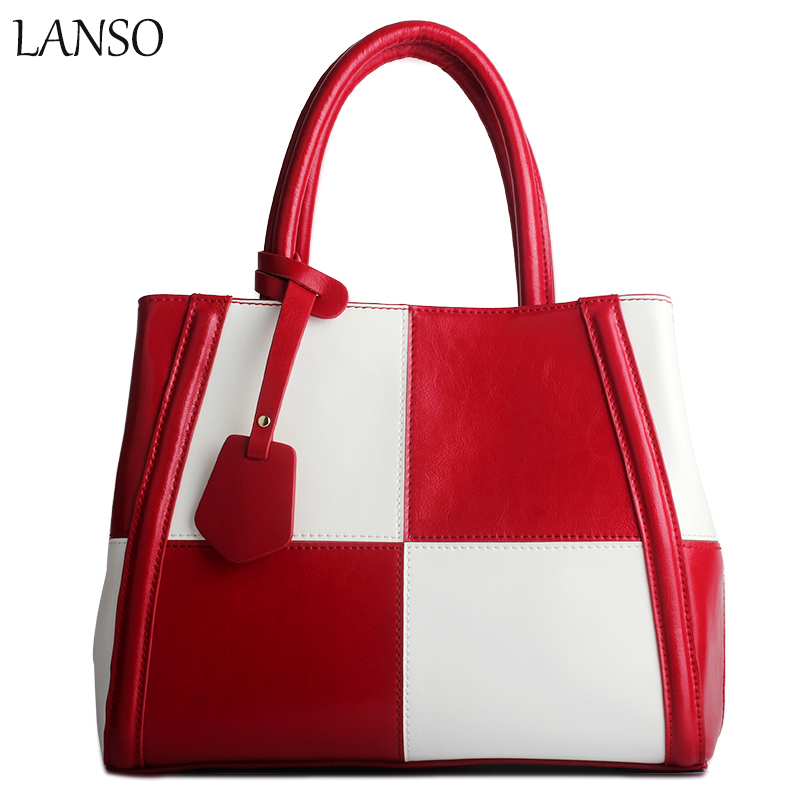 European And American Fashion Style Patchwork Genuine Leather Handbag Ladies Leather Large Bag Women Shoulder Diagonal Cross Bag dtbg pu leather women handbag fashion european and american style totes messenger bag original design briefcase zipper 2017