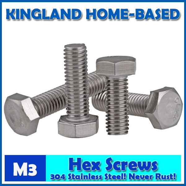 M3 DIN933 External Hex Hexagon Head Screws Full Threaded Up To The Head 304 Stainless Steel Bolt Machine Screws DIY Maintain 10 pcs ac 125v 1a spdt 1no 1nc long hinge lever micro switch