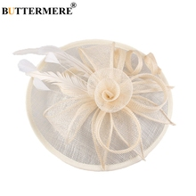 BUTTERMERE Linen Fedora Hat Women Beige British Wedding Bride Ladies Feather Elegant Flower Church Female Brand Pillbox Hats