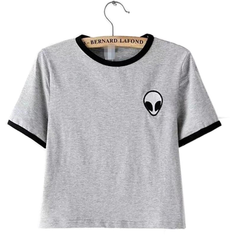 T Shirt Women 2019 New Fashion Casual Alien Flower Printed Stripe Short Sleeve Cheap Quality T-Shirt Vestidos De Festa T014