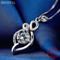 925 Silver Charm Necklace AAAA Zircon Woman Classic Pendant Necklace 100 Sterling Silver Fashion Jewelry