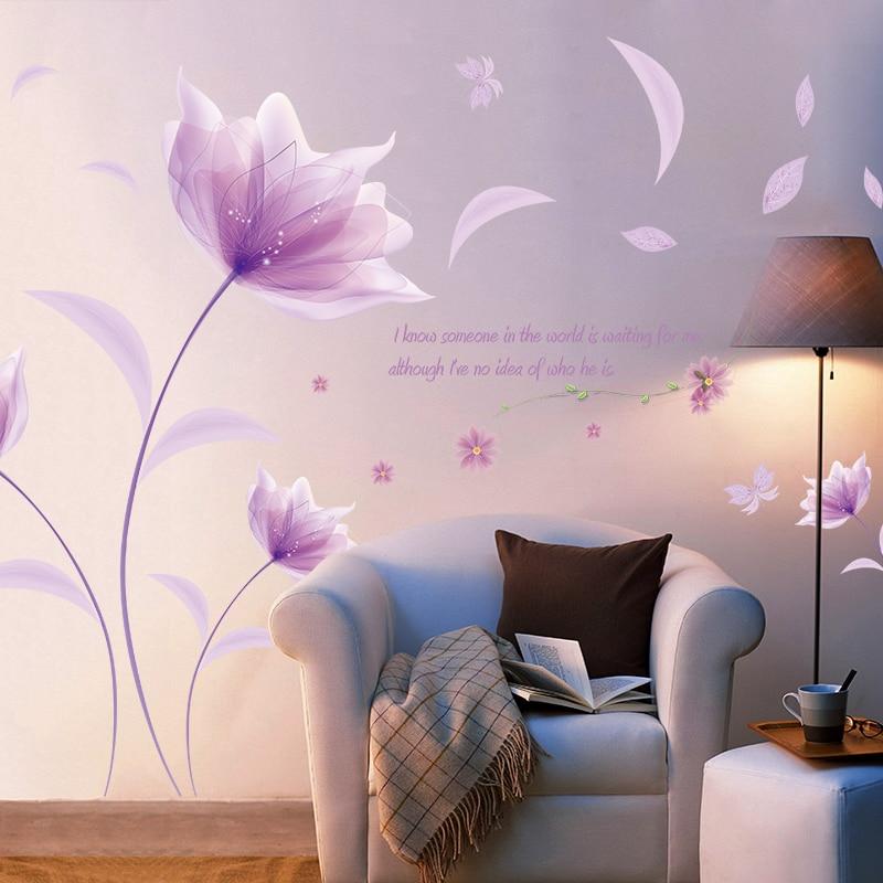 Pegatina de flores púrpura romántica para pared amor, sala de estar, dormitorio para decoración del hogar, pegatinas de arte, pegatinas de fondo, decoración de papel tapiz