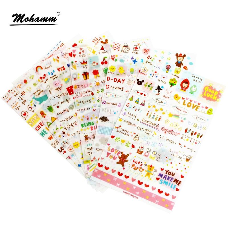 6 Sheet/set Stickers Cute Korea Pvc Transparent Flake Seal Cards For Scrapbooking Diy Diary Calendar Notebook Label Stationery