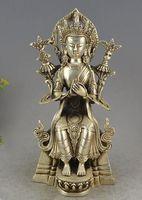 Tibet Buddhism Silver Seat Tara Kwan yin Guan Yin Bodhisattva Goddess Statue