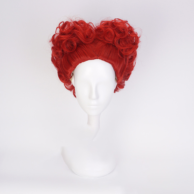Red Queen Wig Role Play Hair Queen of Hearts Costume Red Hair Halloween Party Concert