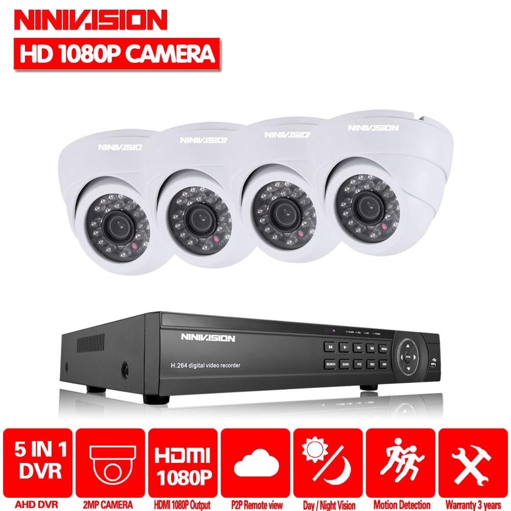 NINIVISION Home 8CH AHD 1080P DVR System 4pcs HD AHD 2 0MP 3000TVL Dome indoor HD