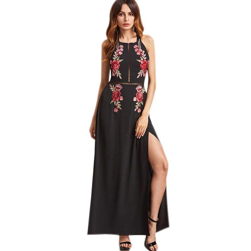 Online Shop Hotmebox 2018 Women Long Maxi Dress Summer Sleeveless Rose  Embroidery Lady Chiffon Backless Halter Side Split Out Female Dresses  5cda8d48d454