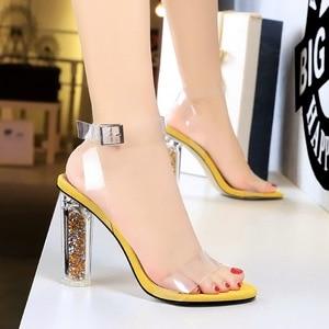 Image 3 - 2020 Plus Size 43 Women Classic 11cm High Heels Fetish Yellow Blue Sandals Transparent Summer Shoes Clear Green Sandles Pumps