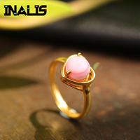 LNALIS New Cute Sweet S925 Sterling Silver Ring Heart Shape Single Pink Queen Shell Gold Plated Finger Accessories Jewelry Girl