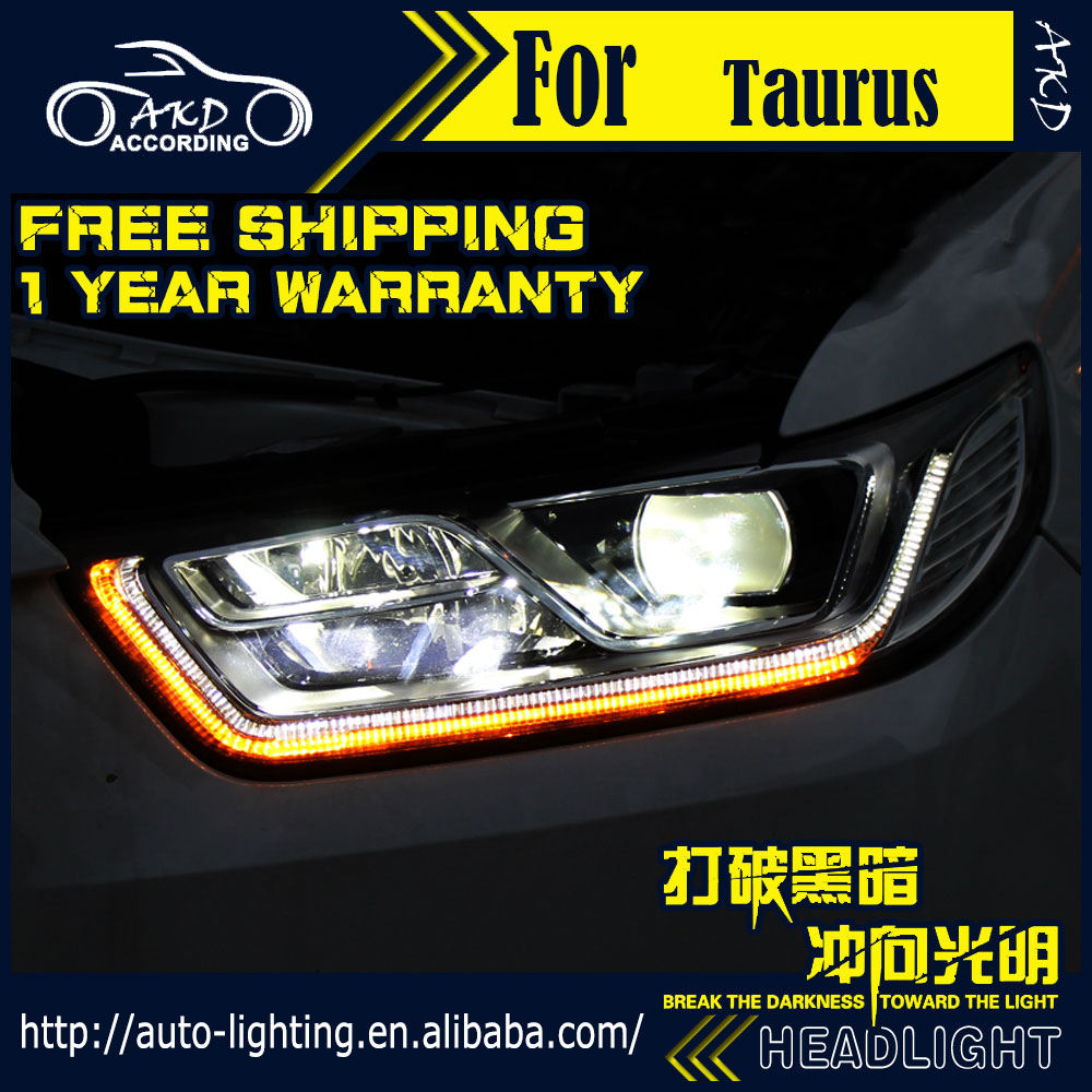 Akd car styling head lamp for ford taurus headlights 2015 2016 led headlight drl h7