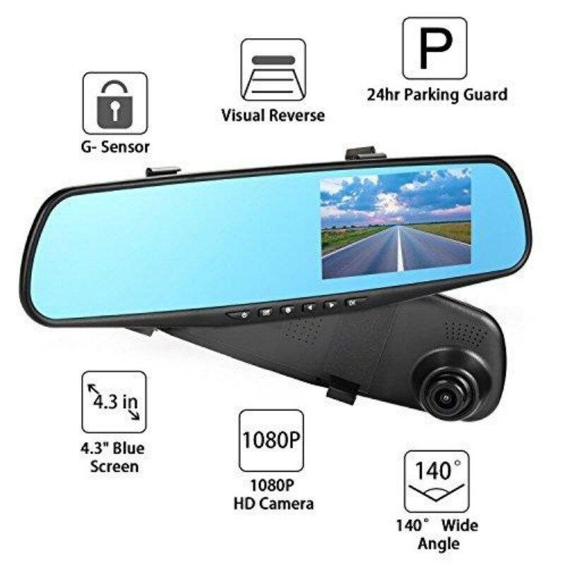 Car DVR Rearview-Mirror-Camera Camcorder Dash-Cam Dual-Lens Night-Vision 1080P