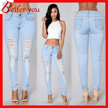 New spring summer fashion hole jeans pencil pants womens trousers ripped casual high waist