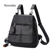 NEVENKA Women Backpack Female Zipper Design Shoulder Bag For Young Girl Casual Black Bags Lady Fashion