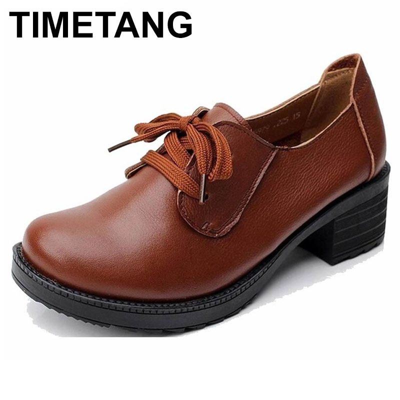TIMETANG Genuine Leather Platform Women Shoes Comfortable Lace up Spring Autumn Shoes Soft Leather Women Heels Shoes Big Size aiyuqi big size 41 42 43 women s comfortable shoes 2018 new spring leather shoes dress professional work mother shoes women