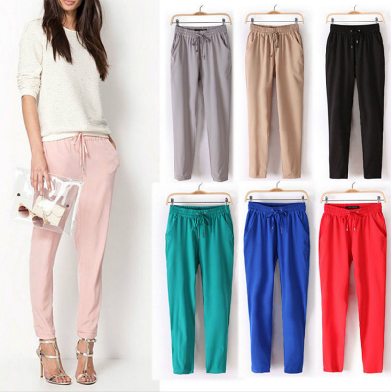 Fashion Autumn Spring Women Clothes Pinkycolor Loose Sweatpants Jogger Sweet Pencil Pants Ankle-Length Elastic Long Harem Pants