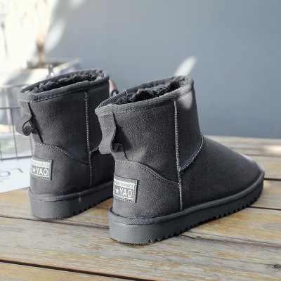 Snowboots vrouwelijke 2019 nieuwe plus fluwelen warme pedaal student katoenen schoenen bont een korte buis
