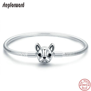 Image 1 - 100% 925 Sterling Silver Dog Head Clasp Charm Bracelet Hot Sale Innovative Lovely Fashion Jewelry Gift For Women Girlfriend