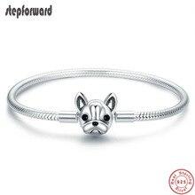 100% argento Sterling 925 testa di cane chiusura braccialetto di fascino vendita calda innovativo bel regalo di gioielli di moda per le donne fidanzata