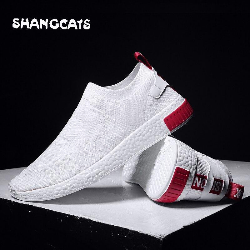 Sapatos finos Para O Verão Sapatos Brancos Homens Sapatilhas Sapatos Adolescentes Sem Rendas Tendência 2018 Novas Meias Sentir Sapatos tenis masculino chaussure