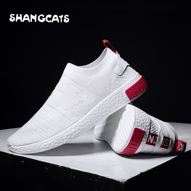 Thin Shoes For Summer White Shoes Men Sneakers Teen Shoes Without Lace Trend 2019 New Feel Socks Shoes tenis masculino chaussure|Men