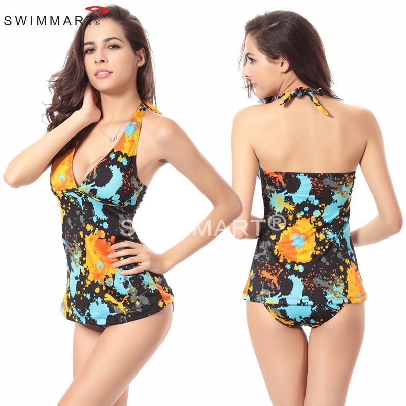 a92c8702300 Más Nuevas mujeres bikini 3 diferentes allover imprimir tradicional mujeres  bañadores tankinis natación Trajes dos piezas Trajes como Navidad regalos