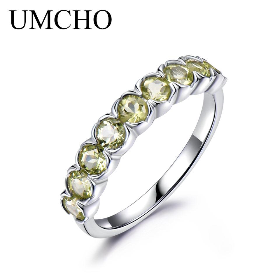 c6cc5a67c0ca Umcho 1.08ct anillo de piedras preciosas naturales peridoto 925 de plata  esterlina boda banda Anillos de compromiso para las mujeres Joyería fina
