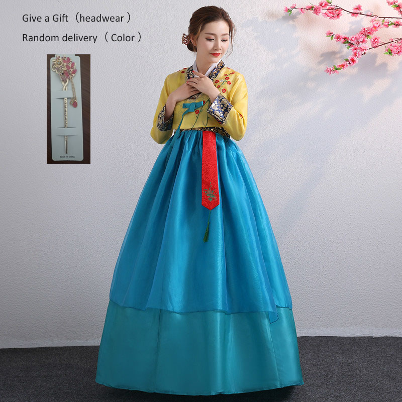 Embroidered Korean Hanbok Dress Women Traditional Palace Wedding Clothing Ethnic Minority Dance Costume Oriantal Clothes Outfit