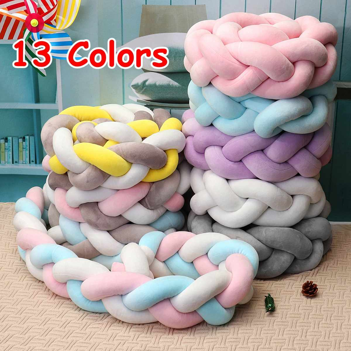 1.5m Minimalism Cotton Baby Bedding Crib Bumpers Crea.tive Braided Long Knot Ball Pillow Protector Cushion Newborns Baby