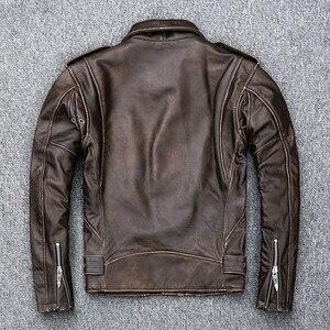 Image 5 - MAPLESTEED Brown Distressed Giacca Moto Da Uomo 100% Pelle di Vitello Classico Sottile Giacca di Pelle Uomo Moto Biker Cappotto di Inverno 5XL M190