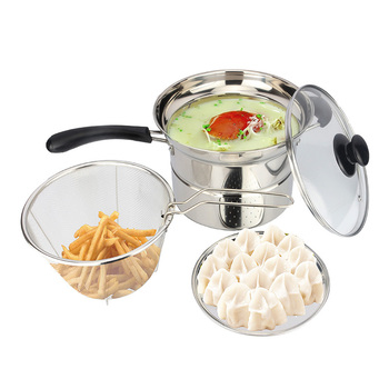 Stainless steel soup pot thickened double bottom pot noodles frying pan steamer electromagnetic furnace totipotent#1298