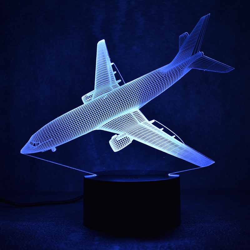 Novedad 3D Led Visual Colorido Luminaria USB Lámpara de mesa Mesilla de noche Dormir Nightlight Fighter Aircraft Lámpara Regalo creativo para niños