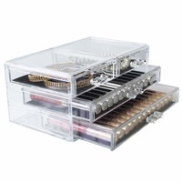 Home Desktop Clear Large Plastic Storage Box Lipstick Holder Acrylic Cosmetic Drawer Make Up Makeup Organizer For Girl