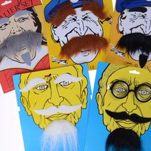 1Set Party Costume Cosplay Beard Facial Hair Disguise Black Mustache Party Decoration(China)