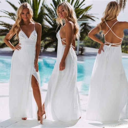 2018 новые летние для женщин длинные праздничные спинки Холтер V средства ухода за кожей шеи бинты макси Богемия платья для белый ц