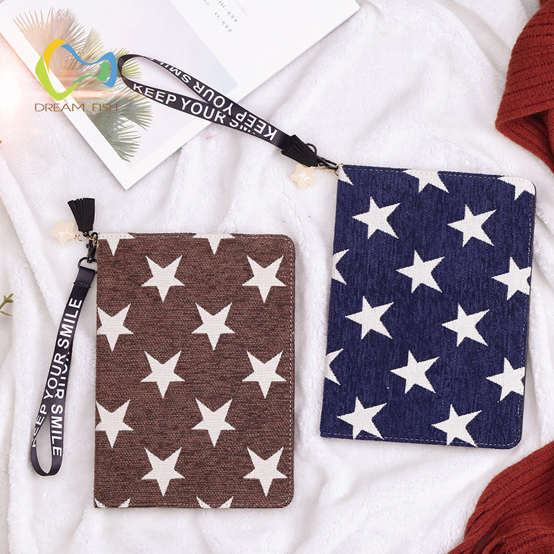 DREAM FISH New PU Leather star Cover for iPad 2018 case Lanyard Smart stand Cover crazy horse Case for ipad tablet Coque