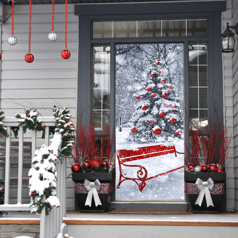 funlife 200x77cm 2pc/set Self-adhesive PVC Door Decal Snow White Christmas Tree 3D Scene Pattern Red Bench in Snow Door Decor