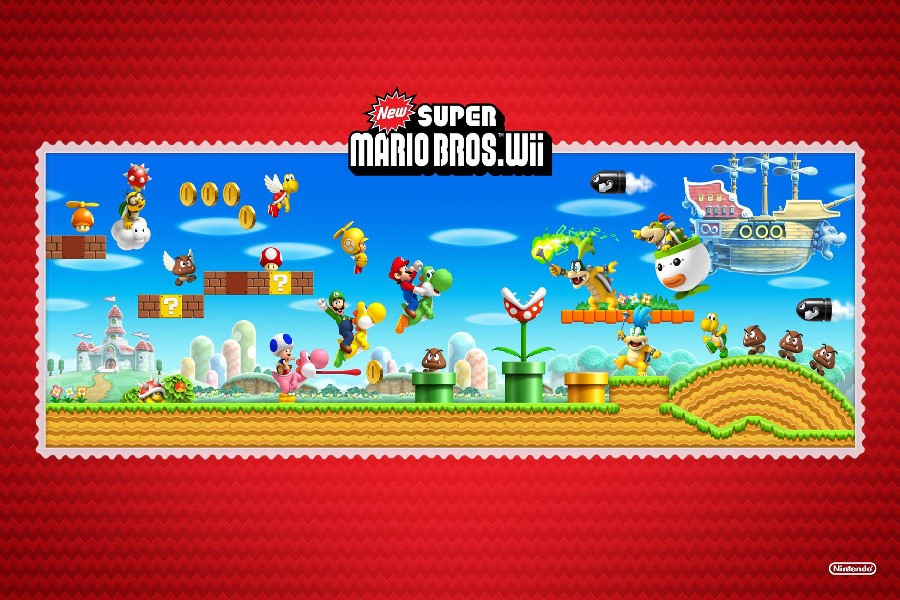 Cartoon New Super Mario Bros Wii Game Poster Fabric Silk Posters And Prints For Bedroom Decoration Wtt1400