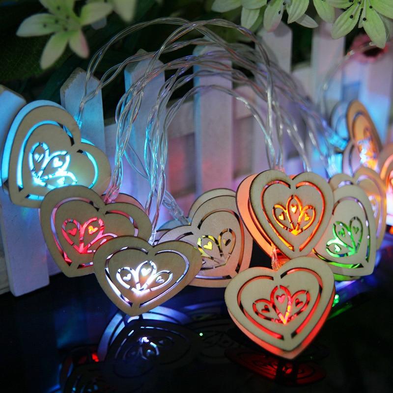 1.2M 10leds Love Wooden Heart Shape String Light Patio Light Christmas Xmas Garden Weddi ...