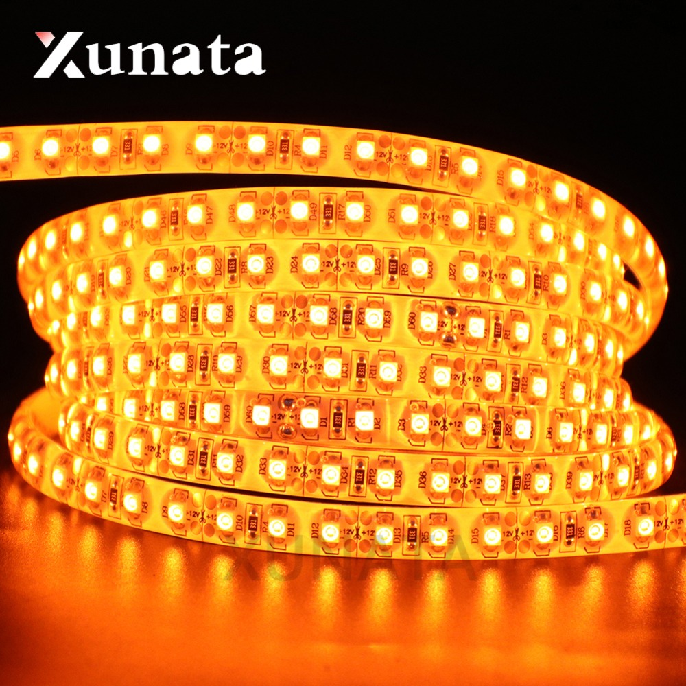 DC12V 5050 3528 SMD Led Light Orange 60Leds/m 120Leds/m IP21 IP65 Led Strip 5m/lot White/Black PCB